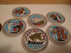 6 Vintage Greek Round Ceramic Tile Coasters With Stand Greece Souvenirs