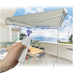 8and039andtimes6.5and039electronic Awning W/ Remote Control Or Crank Handle Sun Shade Canopy Pati
