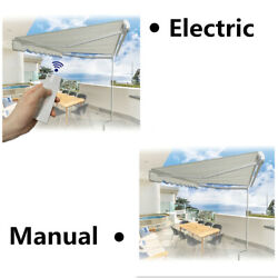 Retractable Awning Aluminum Patio Sun Shade W/crank Handle Water-resistant Outdo