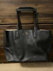 Tory Burch Large Black Leather Tote $95.00