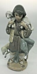 Excellent Lladro 5485 Nativity Shepherd Boy Original Box Hand Signed And Marked