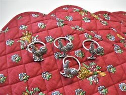 4 Red French Country Placemats 4 Silver Rooster Napkin Holders Farmhouse Kitchen