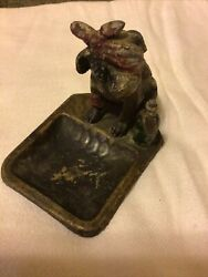 Antique Cold Painted Spelter Nodder Ashtray