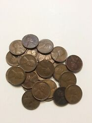25 1940 Unsearched Lincoln Wheat One Cent Pennies Penny Lot Estate Find