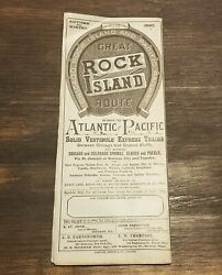 1890 Chicago Rock Island Pacific Railway Timetable Brochure Large Map 21 X 41