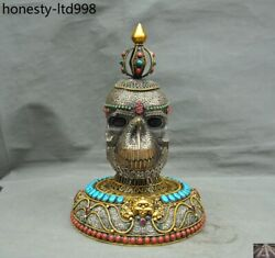 Nepal Crystal Silver Gold Turquoise Coral Skeleton Devil Skull Death Head Statue