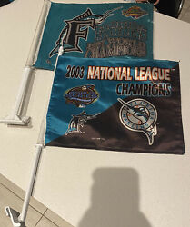 Vintage Florida Marlins 1997 And 2003 World Series Champions Car Window Flags Lot