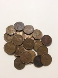 25 1950 Unsearched Lincoln Wheat One Cent Pennies Penny Lot Estate Find