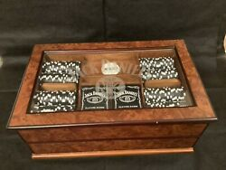 Extremely Rare Jack Daniels Clay Poker Chip Set And Glass Display Case