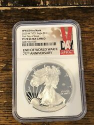 2020 W End Of Ww Ii Proof Silver Eagle V75 V Privy Ngc Pf70 First Day Of Issue