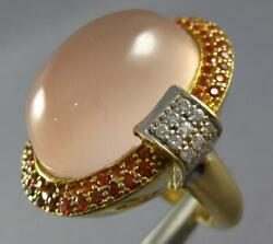 Large 32ct Diamond And Aaa Pink Quartz And Orange Sapphire 14k 2 Tone Gold Oval Ring