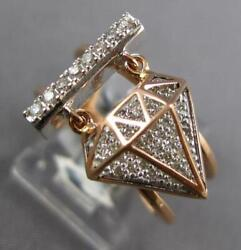 Estate Wide .32ct Diamond 14kt White And Rose Gold 3d Classic Bar Fun Ring