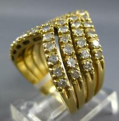 Estate Large 1.36ct Diamond 18kt Yellow Gold 3d Multi V Shape Stackable Fun Ring