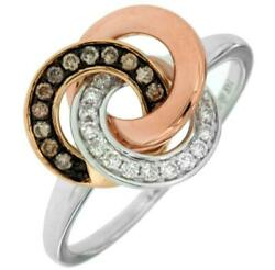 .22ct White And Mocha Diamond 14kt Tri Color Gold 3d Circular Love Knot Fun Ring