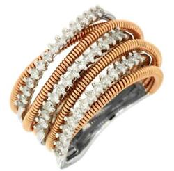 Estate Wide .55ct Diamond 14kt White And Rose Gold Multi Row Criss Cross Wire Ring