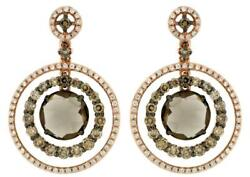 5.06ct White And Mocha Diamond And Aaa Smoky Topaz 14kt Rose Gold Hanging Earrings