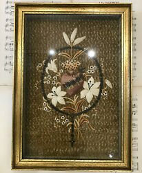 Rare Large Antique French Reliquary Ex Voto Sacred Heart Rosary Embroidery C1880