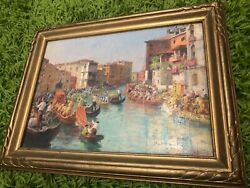 Stefano Novo 1862 - 1934 Oil Painting On Panel Signed Canal Scene 15.5 X 12