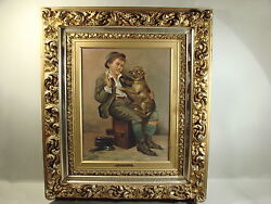 Fine 19th C J.w. Brown Shoeshine Boy And Dog Oil Painting In Manner Of J.g. Brown