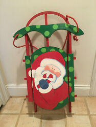 Vintage Santa Claus Christmas Flexible Flyer Style Indoor / Outdoor Snow Sled -