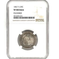 1867-s Seated Liberty Silver Quarter 25c Ngc Vf Details Cleaned Key Date.