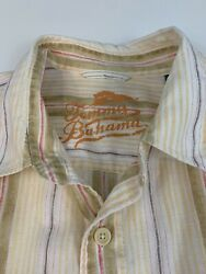 Tommy Bahama Relax Mens Striped Linen LS Button Up Casual Shirt Size XL $19.95