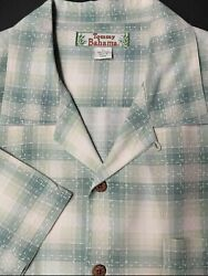 Tommy Bahama Relax Mens 100% Silk Button Shirt Short Sleeve Green Plaid Large L $23.75