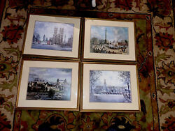 4 H. Moss Framed London Prints, Great Condition Frame Size H16x 19 Used