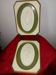 Antique French Parian Nude Woman Wall Plaques.