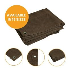 Heavy Duty Canvas Tarp, Ripstop Cotton Polyester Tarp - Water And Mildew Resistant