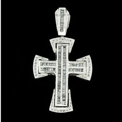 Men's 14k White Gold 3.02ct Channel Baguette And Round Diamond Large Cross Pendant