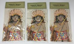 Nos Shackman 3 Uncut Cut And Sew Fabric Panel American Indian Brave Doll Patterns