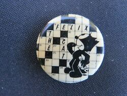 Vintage Felix The Cat Crossword Puzzle Pin Approx 1.75 - Vg