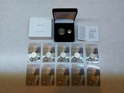 10 Coin Card And 2 Euro Proof Coin Thermopylae 2020 Gold 24k+ruthenium Greece