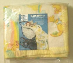 Baby Vintage Rare Collectible Curity Rainbow Print Fleece Blanket Sz 40 X 45