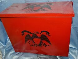 Vintage Milk Bottle Crate Box Metal Federal Red Gloss Colonial Eagle Decal