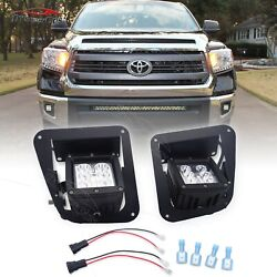 Fit 14-20 Toyota Tundra Led Fog Light Pods Front Bumper Mount+plugandplay Wire Kit