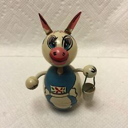 Old Celluloid Easter Rabbit W/pail Rolly Polly Toy Rattle