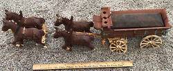 Vintage Antique Cast Iron Toy Horse's Drawn Wagon Great Patina Very Unique