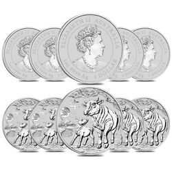 Lot Of 10 - 2021 1 Oz Silver Lunar Year Of The Ox Dragon Privy Bu Perth Mint
