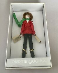 Vintage Bloomingdales Glass Shopper Girl Christmas Ornament Free Shipping