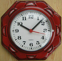 Vintage Wall Clock Red Junghans Germany Retro Battery Ceramic 23cm W 1960s/1970s