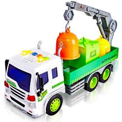 Hersity Garbage Truck Toy, Friction Powered Cars With Lights And Sounds Rubbi...