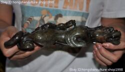9'chinese Ancient Hetian Old Jade Carved Fengshui Son-mother Beast Animal Statue