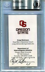 Signed Business Card Craig Robinsom. Michelle Obama's Brother, Ncaa Basketball