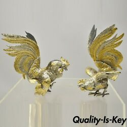 Vtg Italian Gold Silver Gilt Metal Cock Fight Fighting Rooster Figurines - Pair
