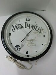 T 20 Jack Daniels Old No 7 Sign White Neon Clock Signed By Distillers Rare