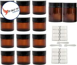 14 Pcs 4oz 2oz Amber Round Glass Jars With Labels Inner Liners Black Lids Empty