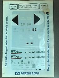 Train Decals Eandn, New Jersey Central, St Marys Box Cars 87-309 Micro Ho Scale