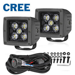 Wiring Kit + 2x 3 Cree Led Cube Work Light Bar Spot Flood Pods Driving Off Road